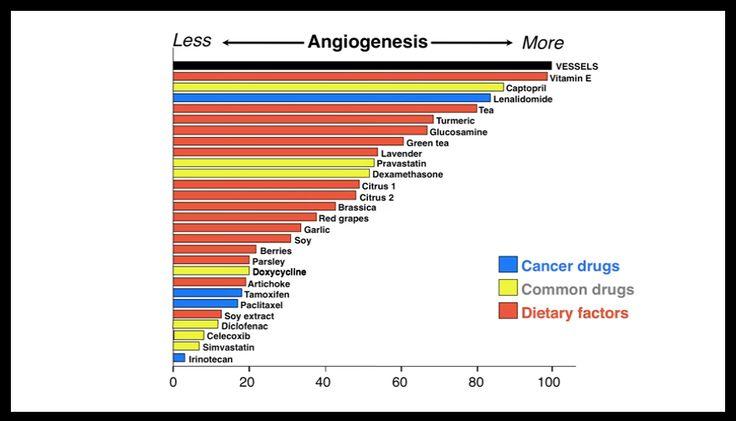 Vliv na blokaci angiogeneze od největšího po nejnižší. Modře jsou léky na rakovinu, žlutě jiné léčivé látky, červeně zdroje z potravin.